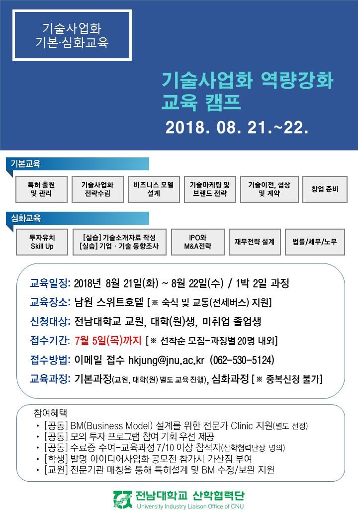 기술사업화 역량강화 교육캠프 안내문